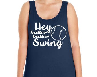Hey Batter Batter Swing, Baseball, Sports, Women's Premium Jersey Tank Top Sizes Small-4X, Curvy, Plus Size, Lots of Colors