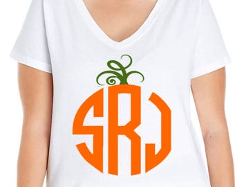 Custom Monogram, Pumpkin, Halloween, Thanksgiving, Women's V-Neck T-shirt, Plus Size Clothing, Plus Size T Shirt, Pumpkin Monogram, Pumpkin
