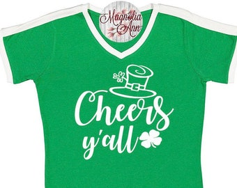 Cheers Y'all, St Patrick's Day Shirt, Shamrock Shirt, Plus Size St Patrick's Day Shirt, Matching St Patrick's Day Shirts, Shamrock Shirt