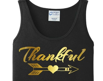 Thankful, Heart Arrow, Thanksgiving, Women's Tank Top in 6 Colors, Sizes Small-4X, Plus Size, Plus Size Clothing