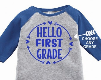 Hello First Grade, Kids Raglan, Choose Any Grade, Back to School Shirt, 1st Grade Shirt, 2nd Grade Shirt, Custom Kids Raglan