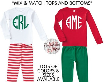 Monogram Christmas Pajamas, Kids Pajamas, Christmas Pajamas, Baby Pajamas, Toddler Pajamas, Matching Pajamas, Customized Pajamas, Custom PJs