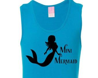 Mini Mermaid, Little Girls Fine Jersey Tank Top in Sizes XS (4/6X) - Large (14) in 10 Colors