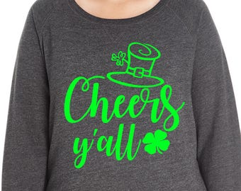 Cheers Y'all Four Leaf Clover Sweatshirt, Sizes Small-4X, Plus Size Sweatshirt, St Patrick's Day Shirt, St Patrick's Day Sweatshirt