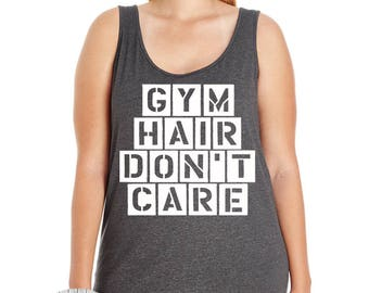 Gym Hair Don't Care, Workout, Exercise, Fitness, Women's Premium Jersey Tank Top Sizes Sm-4X, Curvy, Plus Size, Lots of Colors