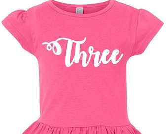 Three, 3rd Birthday, Birthday Girl, Toddler, Little Girls Ruffle Tee in 4 Colors in Sizes 2T-Girls Large
