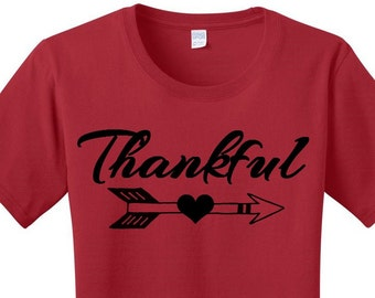 Thankful, Arrow Heart, Thanksgiving, Women's T-shirts in 7 Colors in Sizes Small-4X, Plus Size, Plus Size Clothing