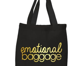 Emotional Baggage, Funny, Canvas Tote Bag in 7 Colors, Handbag, Purse