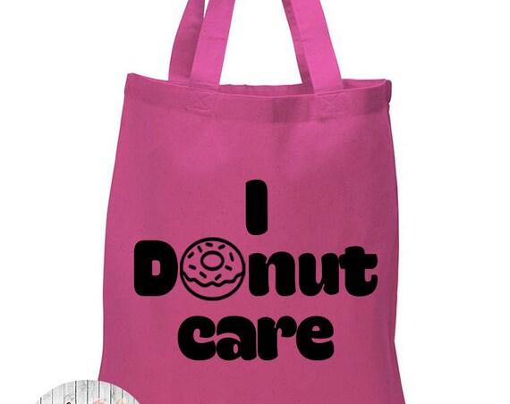 I Donut Care, Donut, Food, Canvas Tote Bag in 7 Colors, Handbag, Purse
