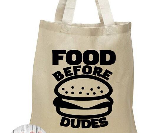 Food Before Dudes, Shopping, Food, Canvas Tote Bag in 7 Colors, Handbag, Purse