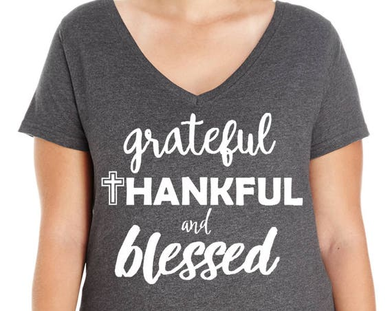 Grateful Thankful Blessed, Thanksgiving, Inspirational, Women's Premium Jersey V-Neck T-shirt in Sizes Small-4X, Plus Size, Curvy