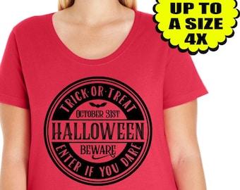 Trick or Treat, Women's Halloween shirt, Halloween Tee, Halloween Shirt, Plus Size Clothing, Plus Size Halloween, Halloween Tshirt