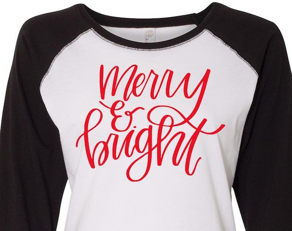 Merry And Bright, Christmas Shirt, Matching Christmas Shirts, Plus Size Christmas Shirt, Family Christmas Shirts, Plus Size Holiday Top