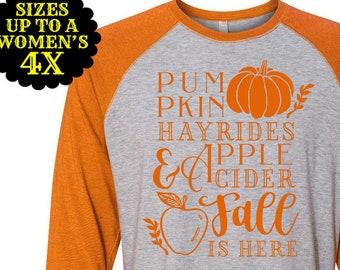 Pumpkins Hayrides Apple Cider Fall Is Here, Pumpkin Shirt, Fall Shirt, Autumn Shirt, Plus Size Fall Shirt, Plus Size Halloween, Matching Tee