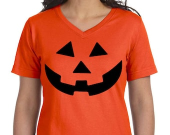 Carved Pumpkin, Halloween Women's Premium Jersey V-Neck T-shirt, Plus Size Clothing, Plus Size Halloween, Halloween Tee, Halloween T Shirt