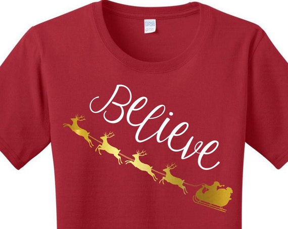 Gold Metallic Believe Santa's Sleigh, Christmas, Women's T-shirts in 7 Colors in Sizes Small-4X, Plus Size, Plus Size Clothing