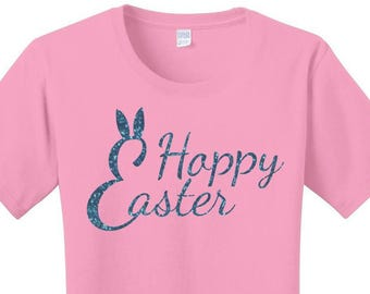 Happy Easter, Hoppy Easter, Bunny Rabbit Ears, Women's T-Shirt in 7 Different Colors in Sizes Small-4X, Plus Size