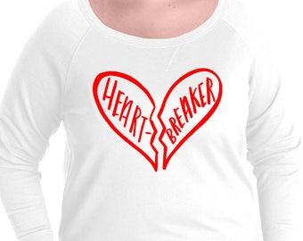 Heart Breaker Pullover Sweatshirt, Sizes Small-4X, Plus Size Sweatshirt, Valentines Day Shirt, Valentines Day Sweatshirt, Vday Sweatshirt