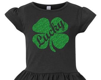 Lucky Shamrock Toddler St. Patrick's Day Shirt, St. Patrick's Day Shirt, Girls Ruffle Shirt,  Little Girls Ruffle Tee, Toddler Ruffle Shirt
