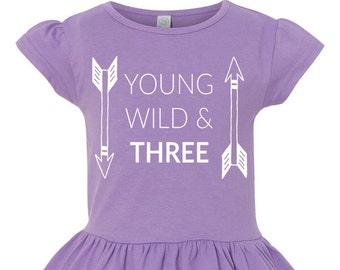 Young Wild & Three Toddler Girls Third Birthday Ruffle Shirt, 3rd Birthday Shirt, Girls 3rd Birthday Shirt, Happy 3rd Birthday, 3rd Birthday