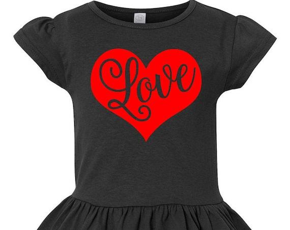 Love Heart Toddler Valentines Day Shirt, Girl Valentines Shirt, Little Girls Ruffle Tee, Ruffled Shirt for Girls, Love Toddler Tshirt