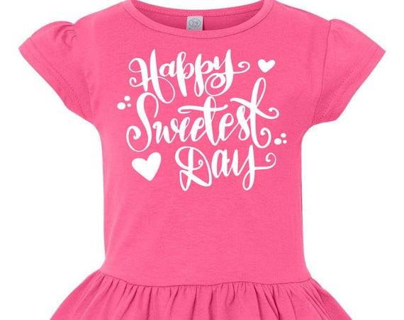 Happy Sweetest Day Toddler Valentines Day Shirt, Girl Valentines Shirt, Little Girls Ruffle Tee, Girls Ruffled Shirt, Toddler Vday Tshirt