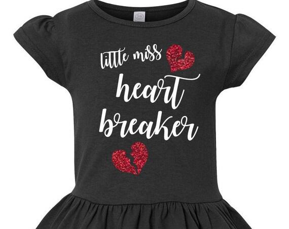 Little Miss Heart Breaker Toddler Valentines Day Shirt, Girl Valentines Shirt, Little Girls Ruffle Tee, Ruffled Shirt for Girls, Vday Shirt