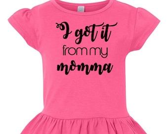 I Got It From My Momma, Little Girls Ruffle Tee, Ruffled Shirt for Girls, Tshirt Toddler Girls, Toddler Tshirt, Girls Shirt, Cute Shirt