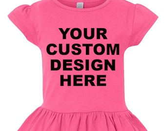 Custom Ruffle Tee, Girls Ruffle Shirt, Custom Toddler Ruffle Tee, Girls Ruffle Tee, Little Girls Ruffle Shirt, Create Your Own Tee,