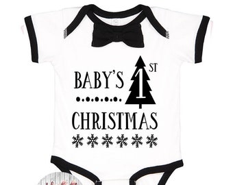 Baby's First Christmas Bodysuit, Bow Tie Bodysuit, My First Christmas, Baby Christmas Outfit, Baby Bow Christmas Outfit, Baby Gift, Baby Boy
