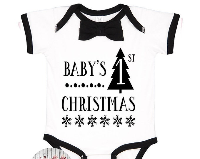 Featured listing image: Baby's First Christmas Bodysuit, Bow Tie Bodysuit, My First Christmas, Baby Christmas Outfit, Baby Bow Christmas Outfit, Baby Gift, Baby Boy