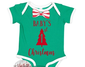 Baby's First Christmas, Bow Tie Bodysuit, My First Christmas Baby, Baby Christmas Outfit, Baby Bow Christmas Outfit, Boys Bow Tie, Baby Gift