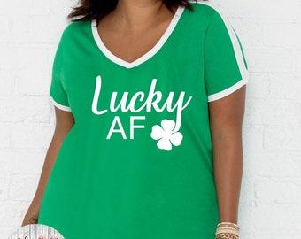 Lucky AF Shirt, St Patrick's Day Shirt, Shamrock Shirt, Plus Size St Patrick's Day Shirt, Matching St Patrick's Day Shirts, Pinch Proof