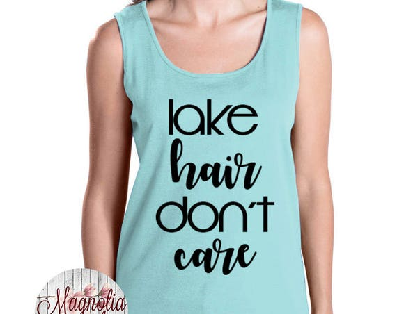 Lake Hair Don't Care, Summer, Women's Premium Jersey Tank Top in Sizes Small-4X, Plus Sizes, Curvy, Lots of Colors