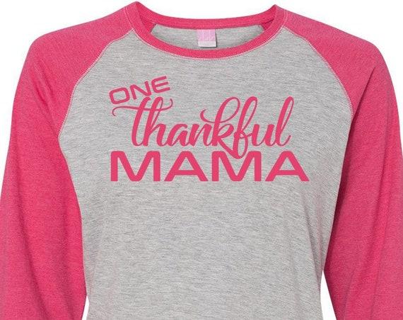 One Thankful Mama, Mom Shirt, Thanksgiving Shirt, Plus Size Fall Shirt, Plus Size Thanksgiving Shirt,  Plus Size Clothing, Momma Bear
