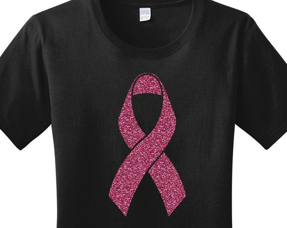 Pink Glitter Breast Cancer Ribbon Women's Graphic T-shirt in 7 Different Colors in Sizes Small-4X, Plus Size