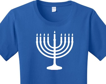 Menorah, Hanukkah, Chanukah, Jewish Holiday, Festival of Lights, Women's T-shirts in 7 Colors in Sizes Small-4X, Plus Size
