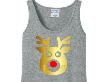 Gold Metallic Rudolph The Red Nose Reindeer, Christmas Women's Tank Top in 6 Colors, Sizes Small-4X, Plus Size, Plus Size Clothing