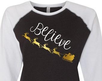 Believe Santa Sleigh, Christmas Shirts, Matching Christmas Shirts, Plus Size Christmas Shirt, Family Christmas Shirts, Plus Size Holiday Top