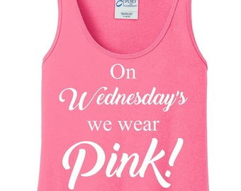 On Wednesday's We Wear Pink, Mean Girls, Breast Cancer, Women's Tank Top in 6 Colors, Sizes Small-4X, Plus Size