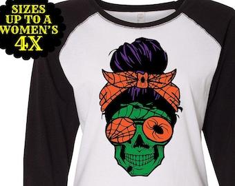 Momster Shirt, Skull Shirt, Mom Bun, Mom Life, Plus Size Fall Shirt, Plus Size Halloween, Halloween Mom Shirt, Halloween Costume, Plus Size