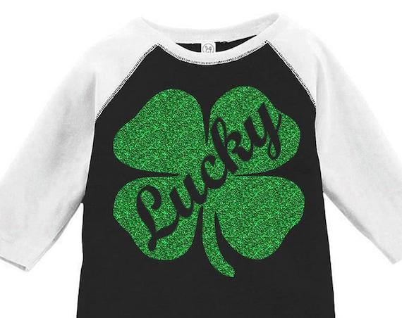 Lucky Shamrock Toddler Baseball Raglan Tshirt, Kids St. Patrick's Day Raglan Shirt, Toddler St. Patrick's Day Tshirt, Clover Shamrock shirt