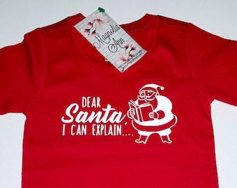 Dear Santa I Can Explain, Infant Baby Toddler Red Long Sleeve T-Shirt, Baby Christmas Shirt, Infant Christmas Shirt, Toddler Christmas Shirt