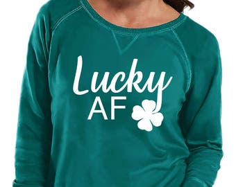 Lucky AF Four Leaf Clover Sweatshirt, Sizes Small-4X, Plus Size Sweatshirt, St Patrick's Day Shirt, St Patrick's Day Sweatshirt, Pinch Proof