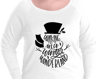 Walking In A Winter Wonderland Snowman Pullover Sweatshirt, Small-4X, Plus Size Clothing, Christmas, Christmas Sweater, Christmas Pullover