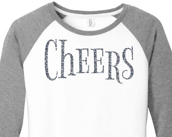 Glitter Cheers, Happy New Year, New Years Eve, Womens Baseball Raglan 3/4 Sleeve Top in 5 colors, Sizes Small-4X, Plus Size