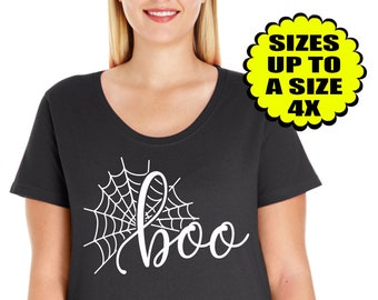 Boo Shirt, Spider Shirt, Women's Halloween shirt, Halloween Tee, Halloween TShirt, Plus Size Clothing, Plus Size Halloween, Halloween Shirt