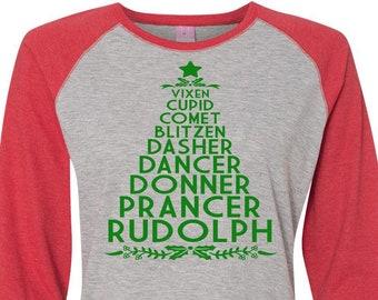Christmas Tree Shirt, Christmas Shirt, Matching Christmas Shirts, Plus Size Christmas Shirt, Family Christmas, Reindeer Names Shirt,