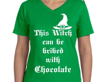This Witch Can Be Bribed With Chocolate Women's V-Neck T-shirt, Plus Size Clothing, Plus Size Halloween, Halloween Tee, Witch Shirt, Witch T