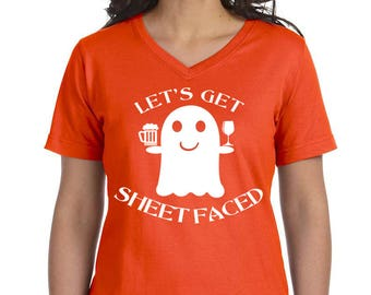 Let's Get Sheet Faced Women's V-Neck T-shirt, Plus Size Clothing, Plus Size Halloween, Halloween Tee, Halloween T Shirt, Ghost Shirt, Ghost